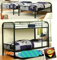 Twin/Twin Black Metal Frame with mattress Only New 2288 mi