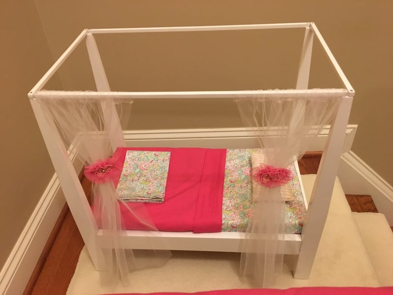 Doll bed with canopy fits American Girl doll a633b10a-89f9-456f-91a8-6bce8c5f0183