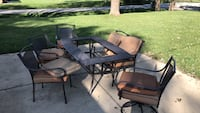 black metal framed glass top patio table set Orland Park, 60462