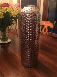 Silver metal decorative vase