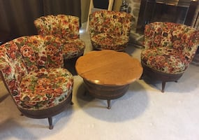 Vintage Barrel Chair and Table Set