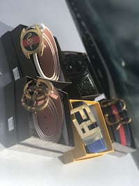 several assorted-color leather belts with box Pearl, 39208