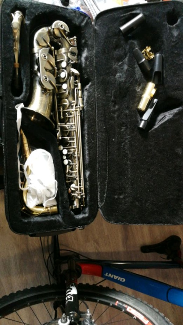 Saxaphone with lots of accessories Roy Benson 99a4fe8a-8192-4879-a2fe-7e692e6abb49