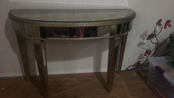 Z Gallerie Borghese Mirrored Demilune Console Table Hollywood Regency