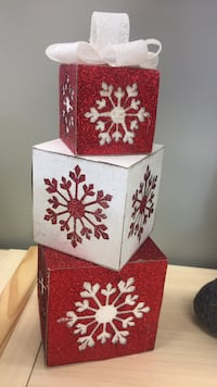Red and white stacked boxes.  $5.00 each