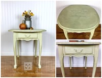 Shabby Chic Beige French Pastry Shop Accent Table with Storage Drawer Alexandria, 22310