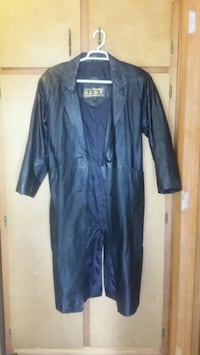 Ladies Long Black Leather Trench Coat ,Direct Action D.A.N.Y New York Pulaski, 38478