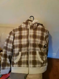 white and brown plaid zip up jacket Surrey, V3T 4A5