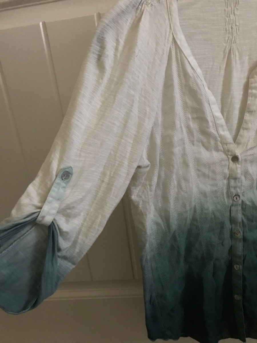 white and gray ombre button-up long-sleeved shirt - Clovis
