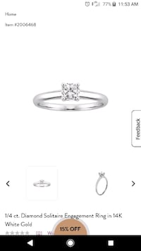 1/4 ct. Diamond Solitaire Engagement Ring in 14K White Gold