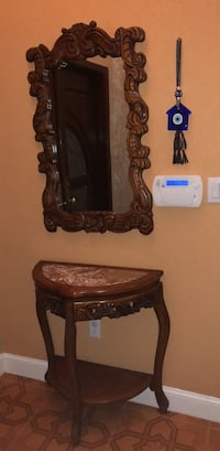 Brown wooden framed wall mirror and table Miami, 33196