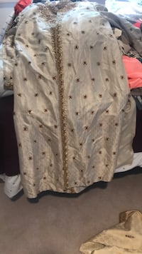 Cream Achkan with Burgundy beading worn once includes 7 scarves  Vancouver, V5S 2J8