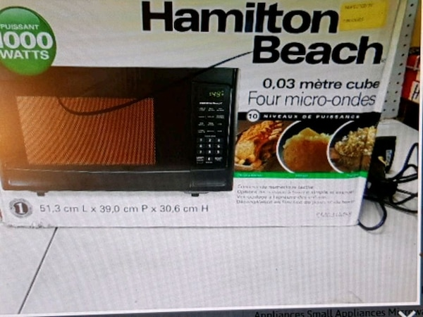 black Hamilton Beach microwave oven box