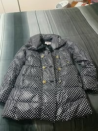 black and white polka-dot button-up coat 540 km