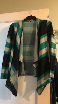 green, black, and white striped cardigan Romulus, 48174