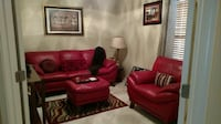 red leather 3-seat sofa,chair,ottoman