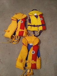 Three yellow-and-red life vest Surrey, V3Z 0L3