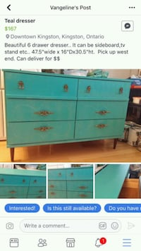 teal and white wooden dresser