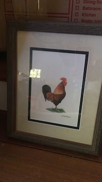 Rooster painting with brown wooden frame by Bob Timberlake