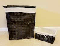 Wicker laundry hamper and basket