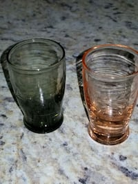 VINTAGE colored Bohemian etched shot glasses    Easley, 29640