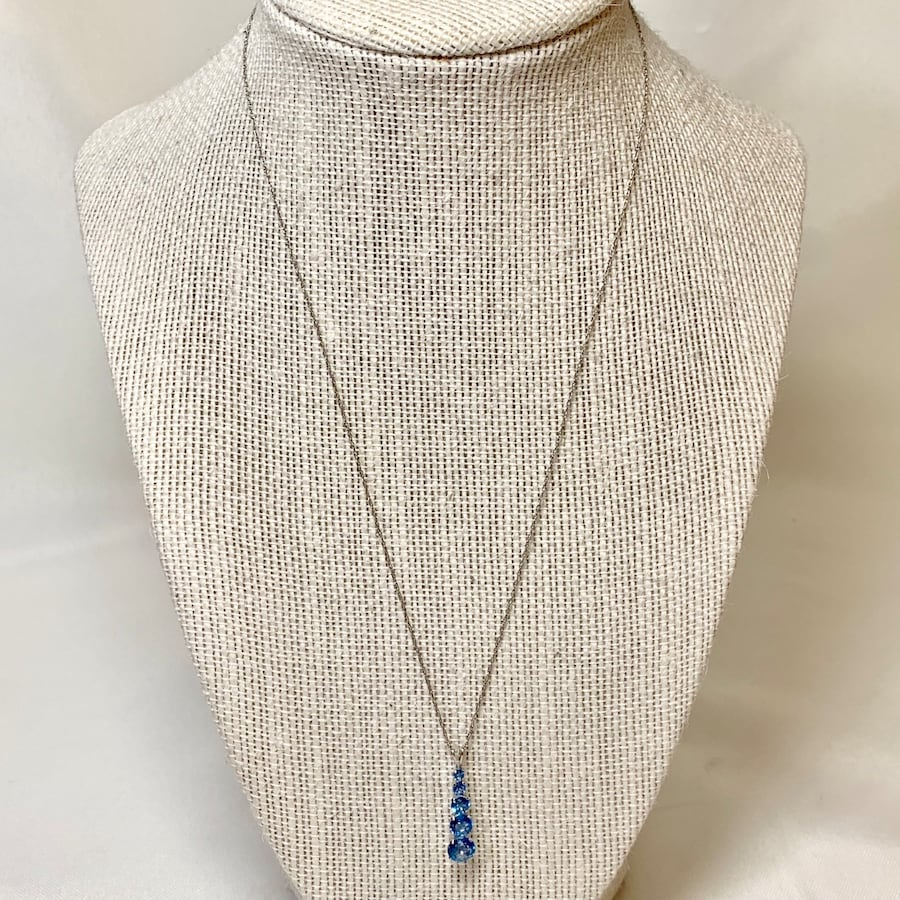 Vintage 10k White Gold Chain with Blue Topaz Pendant