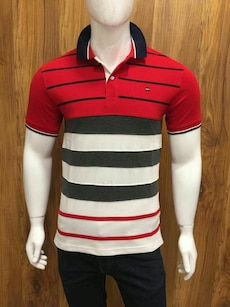 men's red, black, and white stripe polo shirt