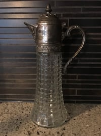 Vintage jug - glass and silver  536 km
