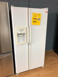 GE white side by side refrigerator