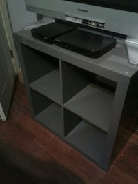 gray wooden cube rack