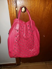 Pink Leather Studded Handbag  Jackson, 39203