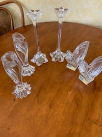 3 Pair Crystal Mikasa Candlesticks, 2 Have Label & 1 without the label Kirkwood, 63122