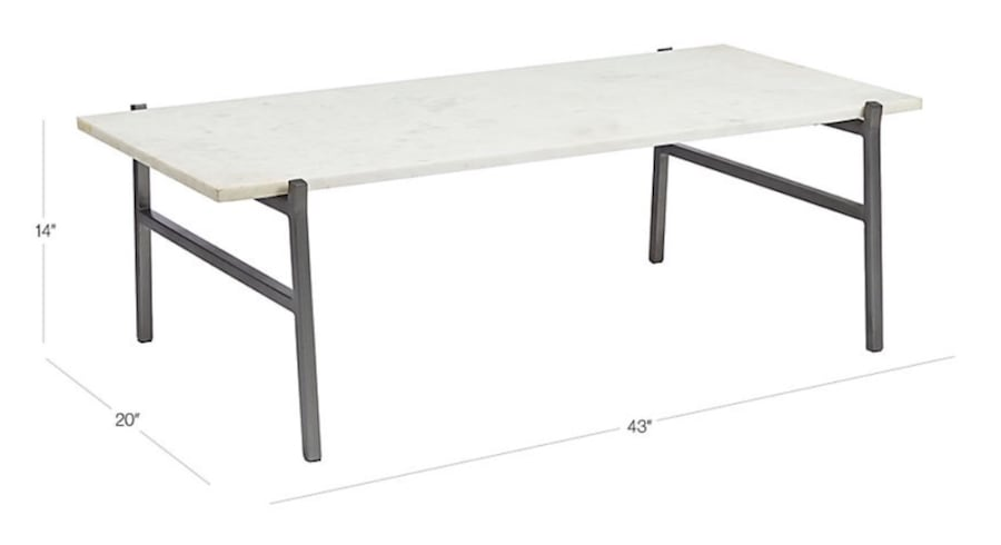 WHITE MARBLE COFFEE TABLE WITH ANTIQUED SILVER BASE 56b19628-673e-4727-b6aa-43b5205caa25