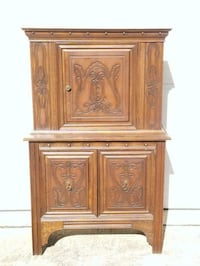 Solid wood cupboard/ hutch with ornate designs