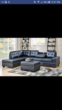 New black leather reversible sectional and ottoman Austin, 78726