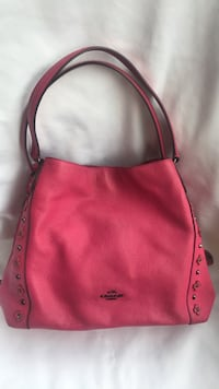 Coach Edie pink leather purse with floral rivets  2293 mi