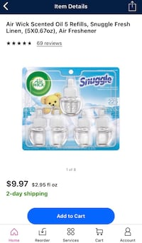 """Air Wick Scented Oil Refills- 5 pack """"Snuggle"""" Scent — Brand New Unopened Packages Citrus Heights, 95621"""