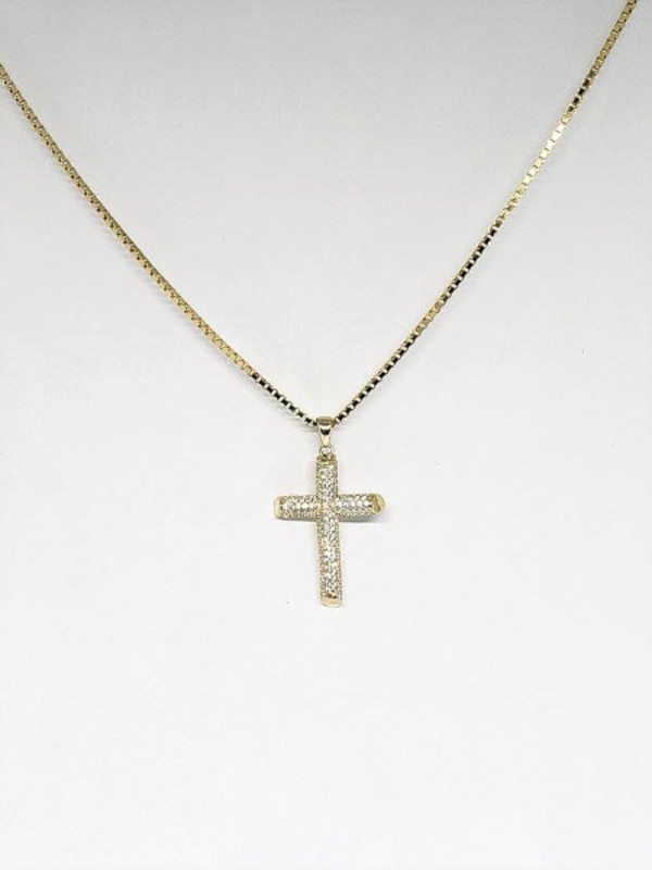 10k Yellow Gold Box Cross CZ Necklace b3fb1b07-5f95-49e6-b6bc-24c0a0a9f281