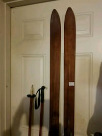 Antique Wood Skis and Bamboo Poles