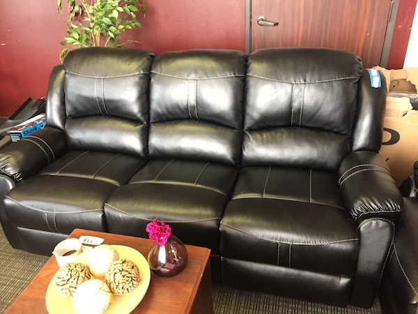 Used Black Leather 3 Seat Recliner Sofa For Sale In Richardson Letgo