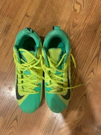 Nike Alpha Menace 1 Yellow and Green Cleats, size 7.5 worn once