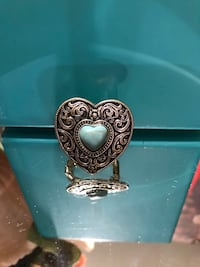 Pretty! Silver Heart Turquoise Stone Heart Stretch Fun Ring Gainesville, 20155