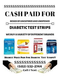 Ca$h = We buy your extra diabetic test strips Jeffersontown