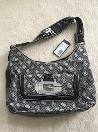 monogrammed black and gray Guess leather crossbody bag