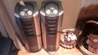 two gray tower fans