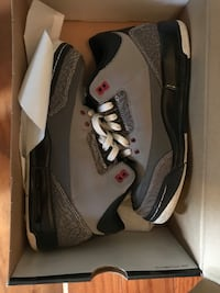 pair of gray Air Jordan 3's with box Bristow, 20136