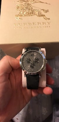 round silver-colored chronograph watch with black leather strap Blackwood, 08012