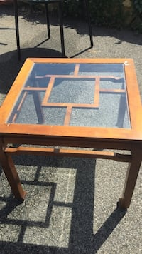 Square brown wooden frame glass table Brookline, 02467