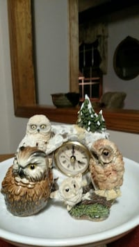 white ceramic owl themed table clock