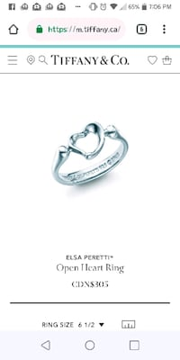 Tiffany & Co. Open heart ring Calgary, T2K 4Y9